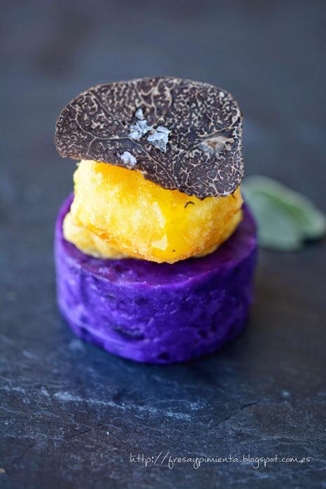 Yema, patata violeta y trufa negra